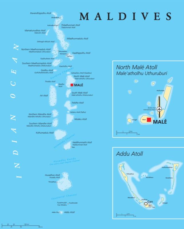Maldív-szigetek térkép - OTP Travel Utazási Iroda